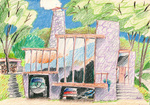 "Alice Hilsum, artiste peintre, ""Maison double garage"", crayon de couleur, 2012"